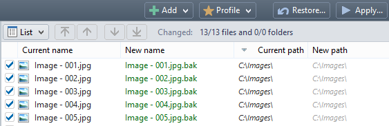 how to change multiple file extensions at once